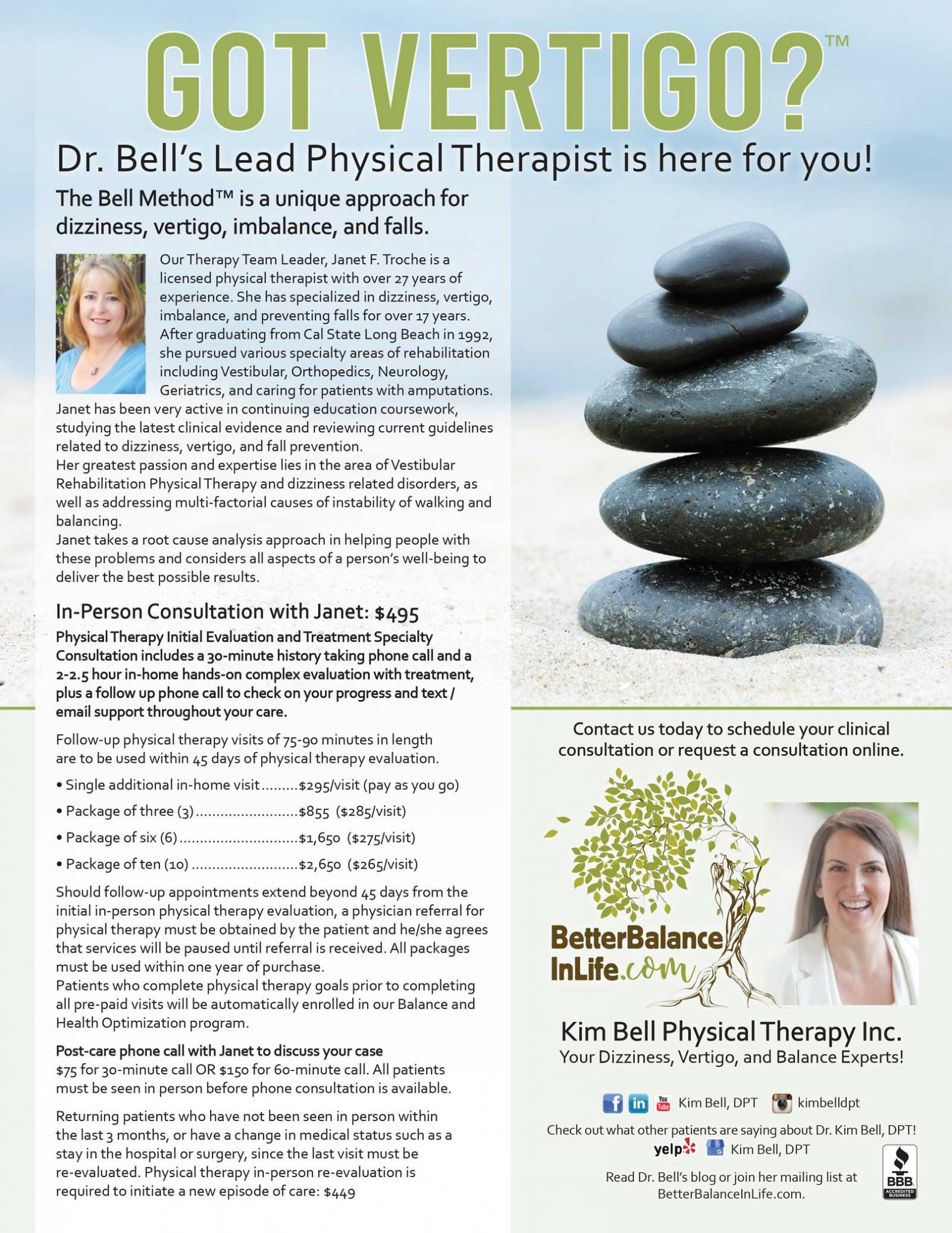 Dr. Bell's Lead Physical Therapist, Janet Troche, patient services