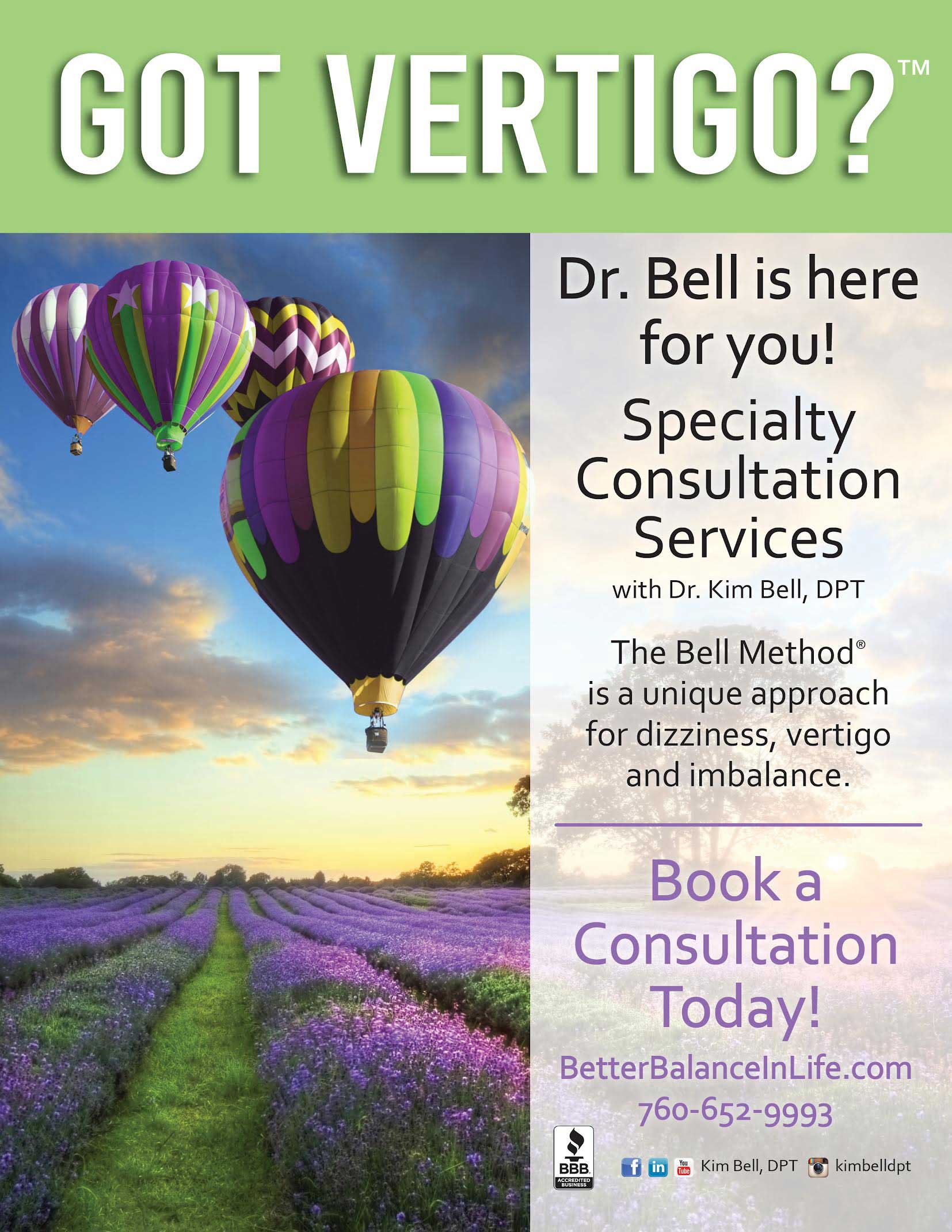 Book Dr. Kim Bell, DPT for Vertigo Help